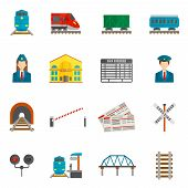 picture of wagon  - Railway flat icons set with train locomotive wagon conductor isolated vector illustration - JPG