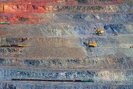 pic of iron ore  - iron ore open pit mining quarry red gray brown - JPG