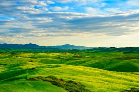 stock photo of farm landscape  - Tuscany rural sunset landscape - JPG
