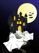 stock photo of wraith  - Illustration of an haunted castle with ghosts - JPG