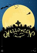 Halloween Invitation Or Card In Blue And Black