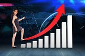 image of step-up  - Businesswoman stepping up against stocks and shares in room - JPG
