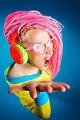 pic of dreadlock  - Crazy expressive trendy DJ girl in bright clothes - JPG