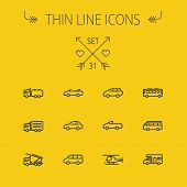 foto of transportation icons  - Transportation thin line icon set for web and mobile - JPG