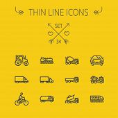 picture of trucks  - Transportation thin line icon set for web and mobile - JPG
