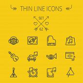 picture of drum-set  - Music and entertainment thin line icon set for web and mobile - JPG