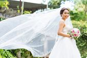image of flutter  - Beautiful Asian bride with her long veil fluttering in the wind - JPG