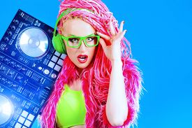 picture of dreadlock  - Expressive modern DJ girl wearing bright clothes - JPG