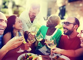 image of diversity  - Diverse People Friends Hanging Out Drinking Concept - JPG
