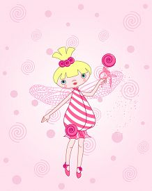 stock photo of fairy tail  - Cute candy fairy flying on pink background - JPG