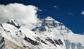 Vista de face norte do Monte Everest do Tibete