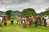 BWINDI NATIONAL PARK, UGANDA- MARCH 25: Batwa pigmy dancers dance the ethnic dances March 25, 2009 i