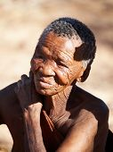 NAMIBIA- MAY 6: Bushman elderly woman May 6, 2007 in Namibia, Kalahari Desert. Bushmen are an indigenous people of southern Africa that living in Namibia, Botswana and some another countries