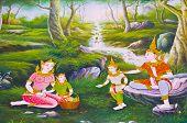 Traditionelle thailändische Kunst mit Geschichten über Buddha...