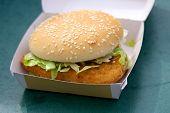 Chicken burger in box