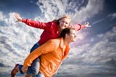 pic of love couple  - Portrait Young love Couple smiling - JPG