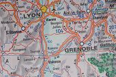 Lyon and Grenoble, France as a travel destination on a map