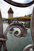 Lucerne/Luzern, Switzerland (shallow DOF - sharp selective focus on the railing in the foreground)