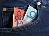 Australian money in jeans pocket