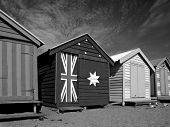 Bathing Boxes at Brighton Beach - B&W