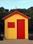Red and Yellow Bathing Box at Brighton Beach