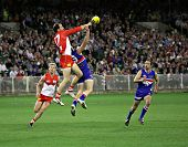 MELBOURNE - SEPTEMBER 12: Tadhg Kennelly spoils in the AFL second semi final - Western Bulldogs vs S