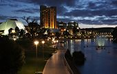 Adelaide skyline and Torrens River by night