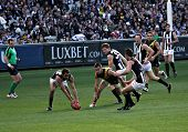 MELBOURNE - AUGUST 15: Collingwood's Brad Dick collects the ball on the forward line - Collingwood v