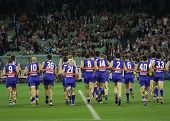 MELBOURNE - SEPTEMBER 18: Western Bulldogs players before the start of the 2009 Preliminary Final ag