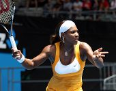 MELBOURNE, AUSTRALIA - JANUARY 23: Serena Williams during her third round match against Carla Suarez