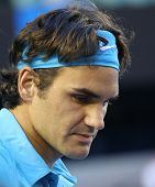 MELBOURNE - JANUARY 27: Roger Federer during his win over Nikolay Davydenko during a quarter final match in the 2010 Australian Open on January 27, 2010 in Melbourne