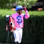 MELBOURNE - FEBRUARY 21: Jockey Peter Hutchinson after the Winelist Australia Plate at Yarra Glen on