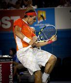 MELBOURNE, AUSTRALIA - JANUARY 22: Rafael Nadal of Spain in his win over Phillipp Kohlschreiber in the 2010 Australian Open at Melbourne Park on January 22, 2010 in Melbourne, Australia