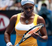 MELBOURNE, AUSTRALIA - JANUARY 23: Serena Williams during her third round match against Carla Suarez Navarroof Spain during the 2010 Australian Open on January 23, 2010 in Melbourne, Australia