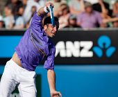 MELBOURNE - JANUARY 20: Radek Stepanek of the Czech Republic in his second round loss to John Isner of the USA  in the 2011 Australian Open - January 20, 2011 in Melbourne