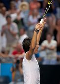 MELBOURNE - JANUARY 23: Francesca Schiavone of Italy celebrates her marathon fourth round win over S