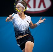 MELBOURNE - JANUARY 23: Svetlana Kuznetsova of Russia in her marathon fourth round loss to Francesca