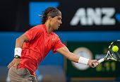 MELBOURNE - JANUARY 26: Rafael Nadal of Spain in his quarter final loss to David Ferrer of Spain  in