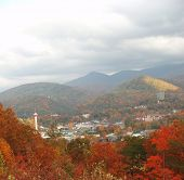stock photo of gatlinburg  - Aerial Overlook of Gatlinburg Tennessee in late October (Autumn).