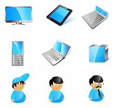 Vector 9 stylish blue technology icons. LCD monitor, e-book reader (pad), calculator, mobile phone,
