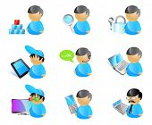 9 vector male avatar icons. 3D TV cinema glasses; mobile phone; accountant calculator; laptop; call center operator; touchpad device; lock key; magnifier glass;  pyramid of cubes solution.