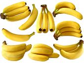 collection of isolated banana on white background