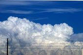 Fluffy Clouds And Telephone Lines