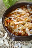 picture of tripe  - Tasty tripe with salad and onion in the dish - JPG