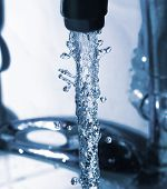 pic of gushing  - water running down from faucet - JPG