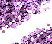 many celebration hearts on white background