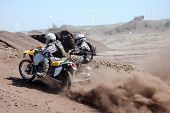 picture of sidecar  - Motorcycle with a sidecar in offroad action in the desert - JPG
