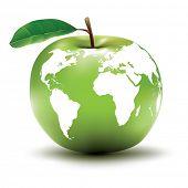 Постер, плакат: понятие окружающей среды Земли apple глобус вектор