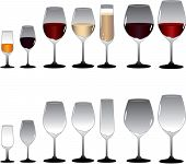 Wine Glasses In Varied Sizes