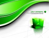 Clean Futuristic Vector Design With Transparent Green Cube